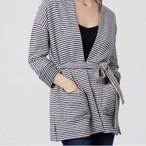 Loft striped belted cardigan
